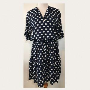 J. Taylor Blue & Ivory Polka Dot NEW Dress Sz 10